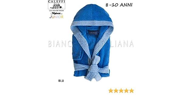 Scatola Confezione Regalo CALEFFI Viglietti Accappatoio Bambini Junior Spugnissima Filato Doppio Ritorto 100/% Cotone 400 gr//mq 8//10 Anni Blu