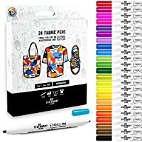 Stationery Island Dual Tip Fabric Pens Pack Of 24 Colours - 1mm And 2mm Nibs. Permanent Washable Fabric Markers With Felt Tips. For Textiles (Inc. T-Shirts, Denim, Cloth Bags And Canvas)