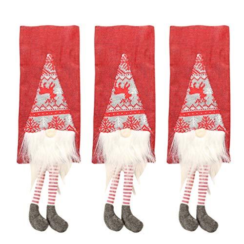 Amosfun 3 stücke schöne weihnachten weinflasche abdeckung halter geschenktüte heiligabend abendessen tisch partydekorationen (rot)