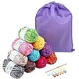 LIHAO 10 x 50g Pelotes de Laine, Laine à Tricoter Multicolore en Acrylique et Coton, 4mm Épaisseur avec Crochet Idéal pour Tricot Loisir Créatif