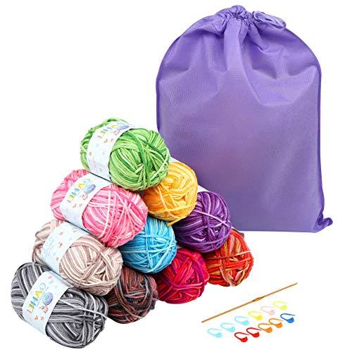 Lihao 10 x 50g gomitolo di lana, 4mm lana per uncinetto in acrilico e cotone, eccellente per i progetti di lavoro a maglia