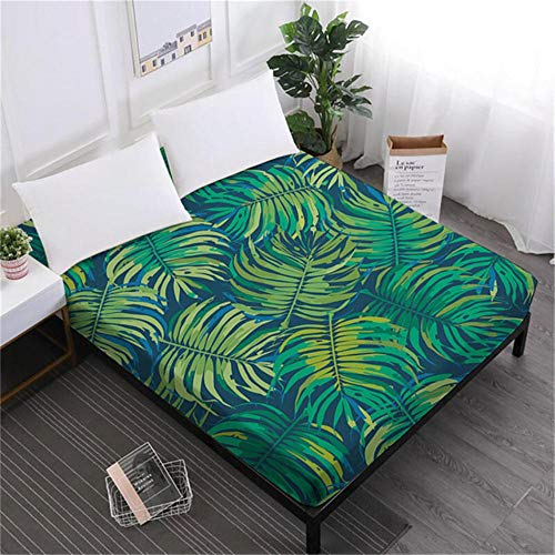 PENVEAT Tropische Pflanze Bettlaken Rainforest Green Leaves Spannbetttuch Flower Painted Matratzenbezug 100% Polyester Heimtextilien D35, DCL-S-AS65, Queen