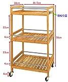 Orolay Servierwagen Küchenwagen Rollwagen aus Bambus Roll Regal Standregal mit Ablage für Teller natur
