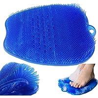 Depurador de pies de ducha,Colchoneta masajeador Limpiador de pies,Almohadilla de lavado de pies con ventosa para suelo de ducha (Blue)