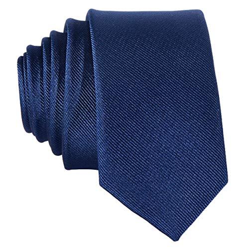 DonDon Schmale marineblaue handgefertigte Krawatte 5 cm navy nachtblau