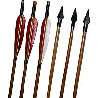 ZSHJG Tiro con Arco Flechas de Bambú Caza Plumas de Pavo Flecha Punta de Flecha Cabeza de Arco Largo Recurvo 6 Piezas (Modelo 1)