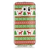 Samsung Galaxy S6 Edge Hülle, Chreey [Weihnachten Thema] Transparent Grüne Kiefer Muster Crystal Klar Weiche TPU Schutzhülle Durchsichtig Ultra Dünn Handyhülle Kratzfest Bumper Case