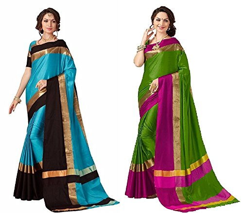 Art Décor Sarees Women's Pack of 2 Sarees Cotton Silk Saree With...