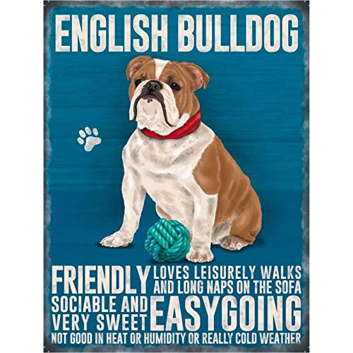 Hasirama englische Bulldogge Eisen Blech Bier Bar Vintage Dekoration Schild Metall Rock Roll Wandschild Lustige Retro Plaque Kunst Crafts Cafe Hanging Artwork Samp Poster Gemälde