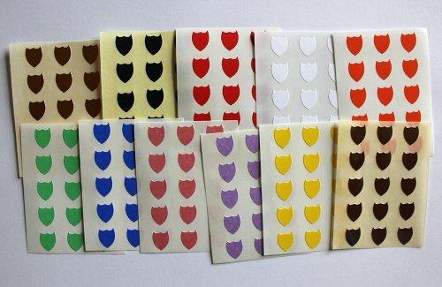 Colores mezclados. 165 etiquetas, 10 x 8 mm forma de escudo, AUTO-adhesivo pegatinas, formas Minilabel