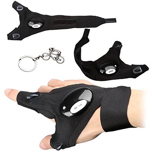 Handschuh-Taschenlampe für Männer und Frauen, fingerlose Taschenlampe, mit Klettverschluss, LED-Licht zum Angeln, Camping, Wandern und zur Reparatur von Geräten, Kinder, Right hand