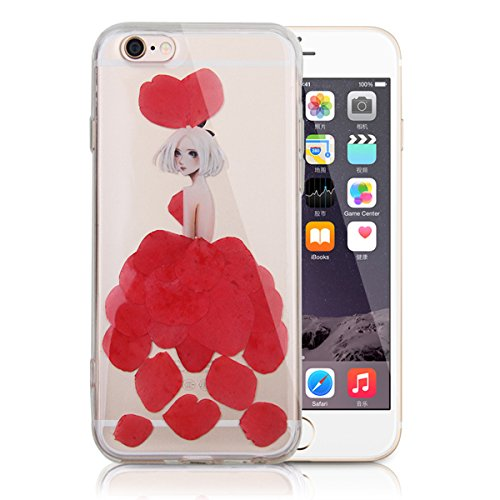 SainCat Coque Housse pour Apple iPhone 6s Plus,Transparent Coque Silicone Etui Housse,iPhone 6 Plus Silicone Case Soft Gel Cover Anti-Scratch Transparent Case TPU Cover,Fonction Support Protection Com Fleur réel fille-rouge