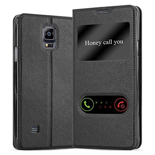 Cadorabo Hülle für Samsung Galaxy Note 4 - Hülle in KOMETEN SCHWARZ - Handyhülle im Standfunktion und 2 Fenstern (View Design) - Case Cover Schutzhülle Etui Tasche Book Klapp Style
