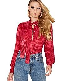 Boyfriend Style Avec boutons sur le devant Col Cravate à Nouer nœud Carreaux Manches Ballon Manches Longues Blouse Chemisier Shirt Chemise Haut Top Rouge