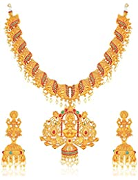 Amaal Temple South Indian Red Green Matte Gold Peacock Goddess Laxmi Traditional Necklaces Jewellery Sets Jhumki Earrings for Women Girls-NL-A349