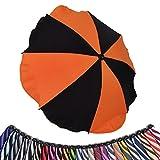 BAMBINIWELT Sonnenschirm für Kinderwagen *20 FARBEN* Ø68cm UV-Schutz50+ Schirm Sonnensegel Sonnenschutz (Orange/Schwarz)