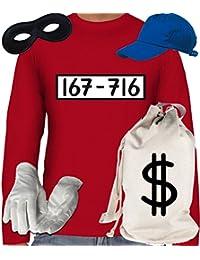 Deluxe Kostüm für Panzerknacker Fans Karneval Herren Langarm T-Shirt+Geldsack+Cap+Handschuhe+Maske