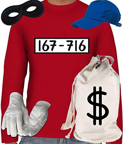 B Ideen Motto Kostüm Party (Deluxe Kostüm für Panzerknacker Fans Karneval Herren Langarm T-Shirt+Geld Sack+Cap+Handschuhe+Maske, Größe:)