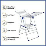 #8: Gemisoft Cloth Dry Stand foldable Lightweight Basic Stand with three Way Folding (Blue) | Strong tubular Construction | Lightweight | Ready to use | Multi positional | Epoxy powder coating for Longer Life | Creates an eco-friendly way to save money | Sturdy base formed by step ladder legs | Package Contains Collapsible Folding Laundry Dryer Rack