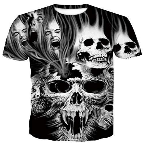 Herren 3D Digital Gedruckt Sommer Kurzarm T Shirts Hip Hop Tees Slogan,3D Halloween Print - B Schwarz 2XL