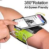 VUP Fascia da Braccio, Universale Porta Cellulare per iPhone 8 7 6 6s Plus X Xs Max XR Samsung Galaxy S9/S8 Smartphone Armband da Polso con Rotazione di 360 Gradi per Corsa Running Palestra (verde)