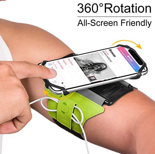 VUP Armband für iPhone X 8 8 Plus 7 Plus 6S Plus 6 Plus, LG G6 G5, Galaxy S8 S7 S6 Edge, Google Pixel, 180° drehbares Handy-Armband für Laufen, Wandern, Radfahren, mit Schlüsselhalter (grün)