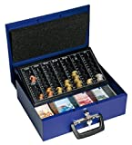 Wedo 150100803 Geldzählkassette Universa (aus Stahlblech, für Hart- und Papiergeld, mit zwei Tragegriffen und 4-Fächereinsatz für Geldscheine, 35,5 x 27,5 x 10 cm) blau