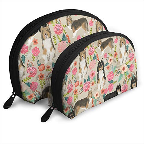 Sheltie Floral Shetland Sheepdogs Sheltie Dog Desig Portable Bags Clutch Pouch Portable Shell Makeup Storage Bag with Zipper 2Pcs -