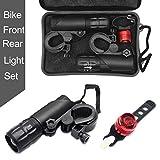Maso CREE Q5 - Set di luci a LED per Bicicletta, con Zoom, Luce Anteriore e Posteriore, in Materiale Impermeabile