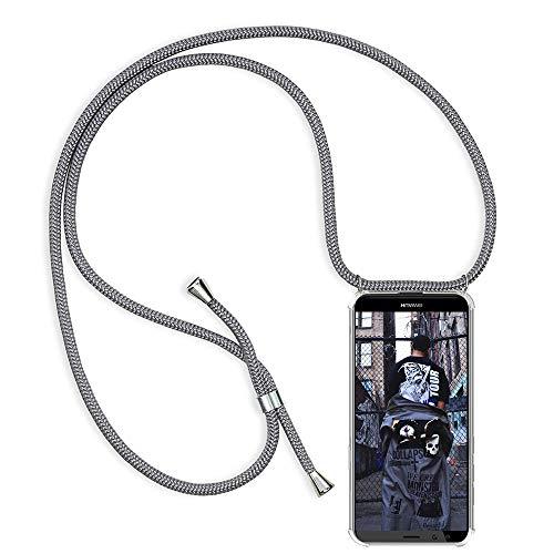 TUUT Handykette kompatibel mit Huawei Mate 10 Lite Handy-Kette Handy Hülle mit Kordel zum Umhängen Handyanhänger Halsband Lanyard Case/Handy Band Necklace [Stoßfest] - Grau Da-lite 150