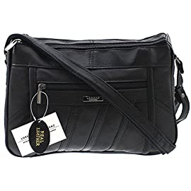 WOMENS DESIGNER GENUINE REAL LEATHER SHOULDER CROSS BODY HAND BAG BLACK
