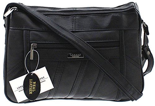 - 51pc 2BOM72fL - WOMENS DESIGNER GENUINE REAL LEATHER SHOULDER CROSS BODY HAND BAG BLACK