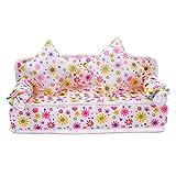 Vektenxi Mini divano fiore divano +2 cuscini per accessori casa delle bambole Conveniente e durevole