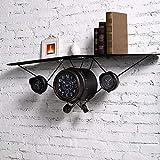 CN Wanddekoration, Wandablage Regal, europäischen Stil Retro Flugzeug Uhren und Wände Wanddekorationen alte Eisen Möbel dekorative Regale, Haushalt Wandregal