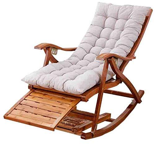 YF-Chaiselongue Balkonsessel Zero Gravity Stuhl Relaxsessel Balkon Stuhl Freizeit Lounge Stuhl Starke Kugellager Metall Outdoor Balkon, Bambus, Kaffeebraun, Weiß -