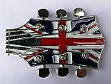 Bandera de Reino Unido guitarra cabeza Metal hebilla de cinturón