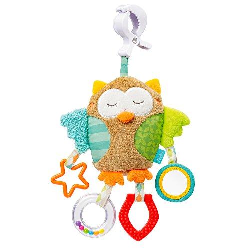 Fehn 071160 Activity-Spieltier Eule/Motorikspielzeug zum Aufhängen mit Spiegel & Ringen zum Beißen, Greifen und Geräusche erzeugen/Für Babys und Kleinkinder ab 0+ Monaten
