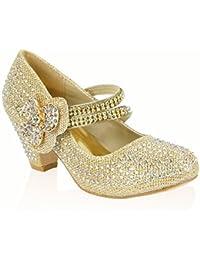 MyShoeStore - Zapatos de boda para niña, con diamantes de imitación, estilo Mary Jane, de tacón bajo