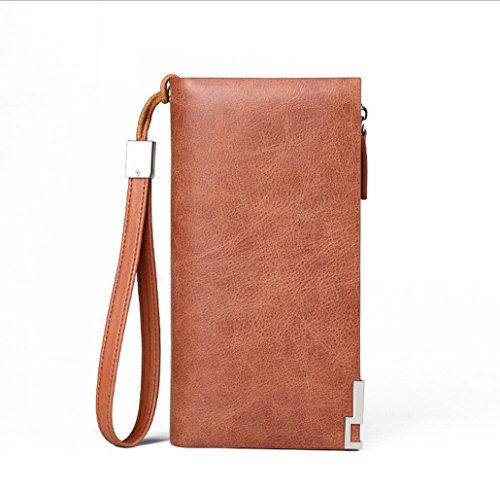 Heart&M Leder Geldbörsen Portemonnaie Geldbörse Männer Brieftasche Leder Handy Tasche Multi-Funktions-Hand Zipptasche red brown