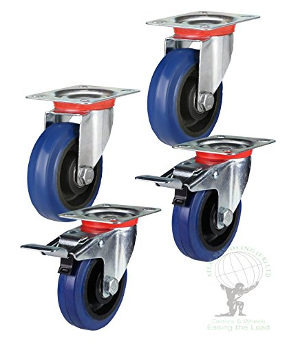 flight-case-rubber-castors-100mm-set-2-x-swivel-2-x-braked