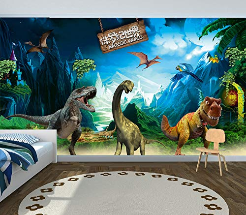 Glorious.Q 3D Fototapete Wandbild Dinosaurier-Paradies-Dschungel-Abenteuer-Dinosaurier-Plakat 3D Tapeten Wohnzimmer Fernseher Sofa Hintergrund Tapete 500X280Cm -