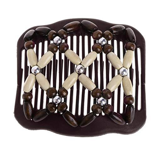 Steellwingsf Haarspange mit doppeltem Clip für Damen, Holzperlen, Zauberhaar