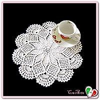 Tapete pequeño blanco de ganchillo en algodón - Tamaño: ø 26 cm - Handmade - ITALY