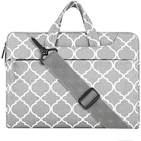 MOSISO Bolso de la cubierta de la caja de la manga del ordenador portátil de la tela del estilo de Quatrefoil con la tira del hombro para 13-13.3 pulgadas MacBook favorable, aire de MacBook, ordenador portátil, Gris