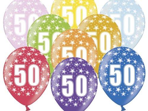6 Luftballon 30 cm zum 50. Geburtstag - Zufällig gemischt aus 9 Farben - Kleenes Traumhandel®