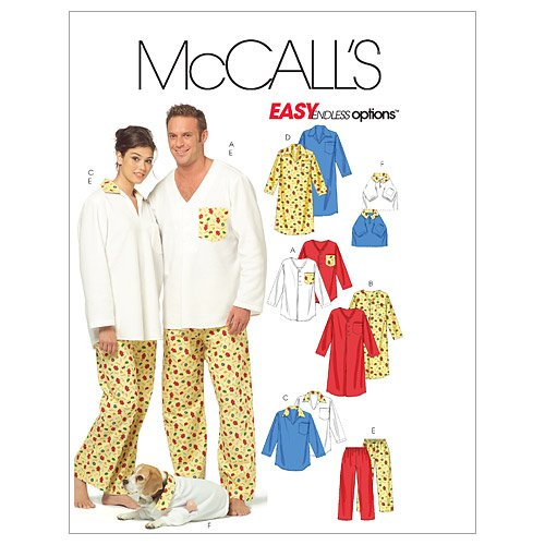 mccalls-patterns-m5511-misses-mens-teen-boys-tops-nightshirt-pants-and-top-for-dog-size-z-lrg-xlg-by