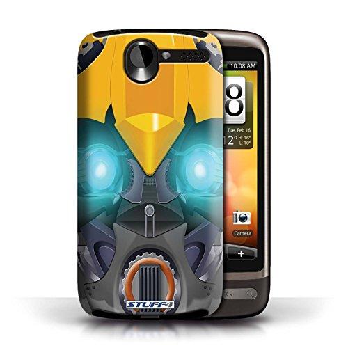 Kobalt® Imprimé Etui / Coque pour HTC Desire G7 / Opta-Bot Rose conception / Série Robots Bumble-Bot Jaune