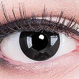 Funnylens 1 Paar farbige schwarz schwarze Crazy Fun black out Kontaktlinsen ohne Stärke mit 4 Kunstblut Kapseln + Behälter von Funnylens. Perfekt zu Halloween, Karneval, Fasching oder Fasnacht.