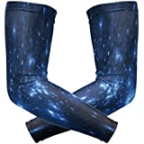 ShineSnow Dark Blue Galaxy1 Pair Sports Cooling Sun Protection Compression Arm Sleeves, Unisex Youth Adult Baseball Basketball Golf Tennis Running Cooler 2 Pieces