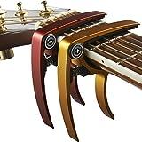 Nordic Essentials - Capotasto per chitarra, ukulele, banjo, mandolino, basso, 2 pezzi, realizzato in alluminio ultra leggero Per strumenti a 6 e 12 corde, colore: nero + argento, accessorio di qualità di Nordic Essentials., Red + Gold